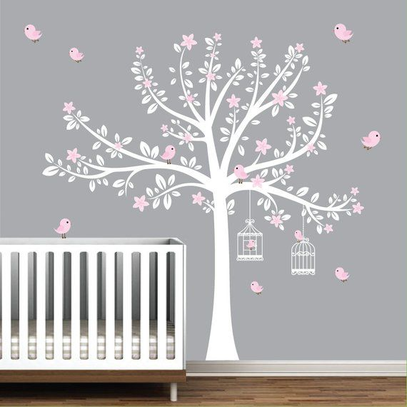 Tree Wall Decals Nursery Flower Stickers Pink