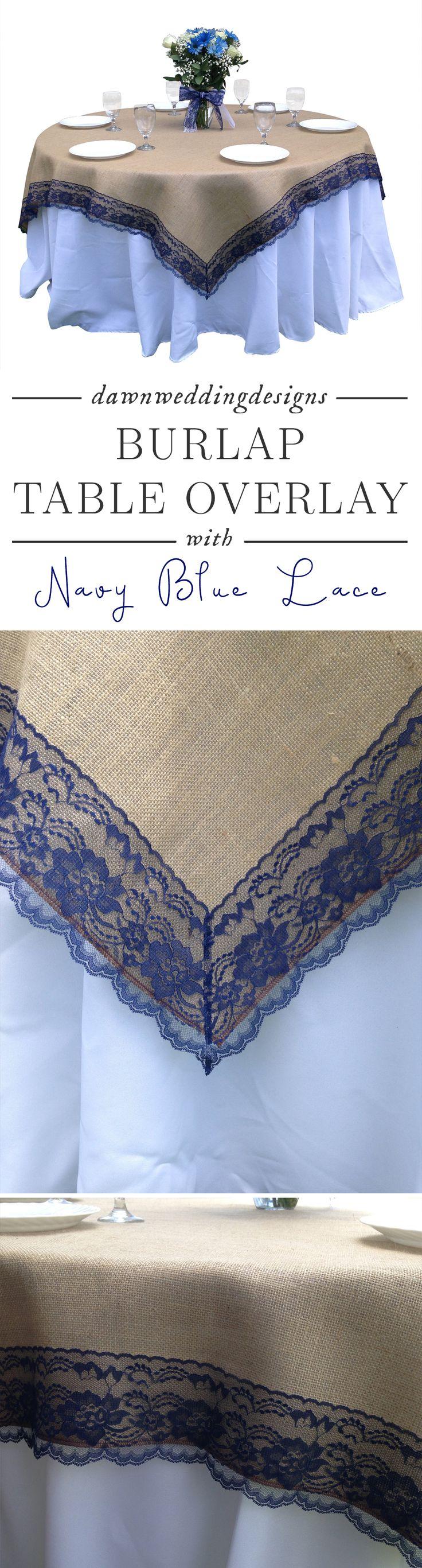Navy Blue Rustic Wedding Décor  Burlap NAVY/DARK BLUE Lace-Edged Table Overlay / Tablecloth- Rustic Country Home Decor Table Linen, Wedding Reception Decor