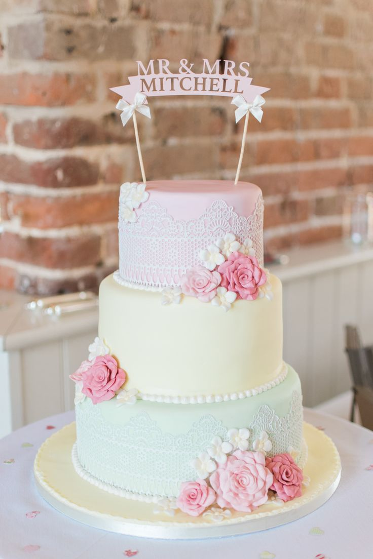Pastel Lace Shabby Chic Cake Floral Fresh Pink Barn Wedding http://www.charlotteleysphotography.co.uk/