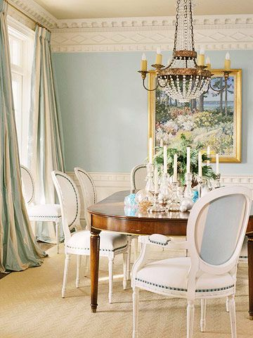 Ornate Crown Molding And Dramatic Silk Draperies Are The Final Elegant Touches On This Formal Dining Room