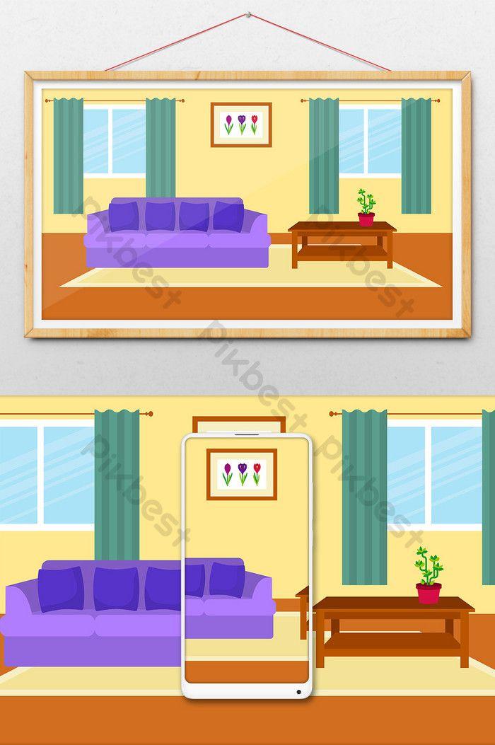 Kartun Gambar Latar Belakang Ruang Tamu