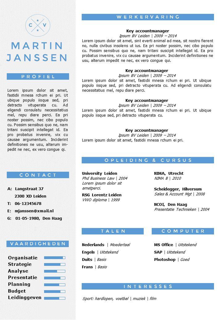 CV sjabloon in Word en PowerPoint. Opmaak zonder foto, inclusief volgpagina sjabloon. Direct in je mailbox na bestelling.