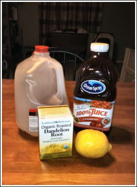 Jillian michaels detox drink-  60oz water, 1 TBLSP cranberry juice (non -cocktail), juice from 1 lemon (or 2 TBLSP), 1 tea bag of dandelion root tea.  Drink everyday for 1 week to help reduce bloat and water weight.  I used this and it really REALLY worked for me! Highly recommend!