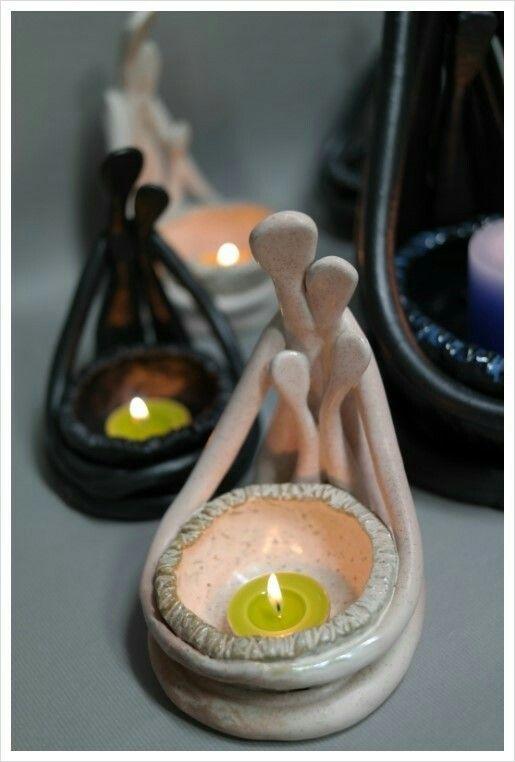 도자기촛대 작품명=가족촛대·화분 분청토·풀잎색유·1250도산화소성