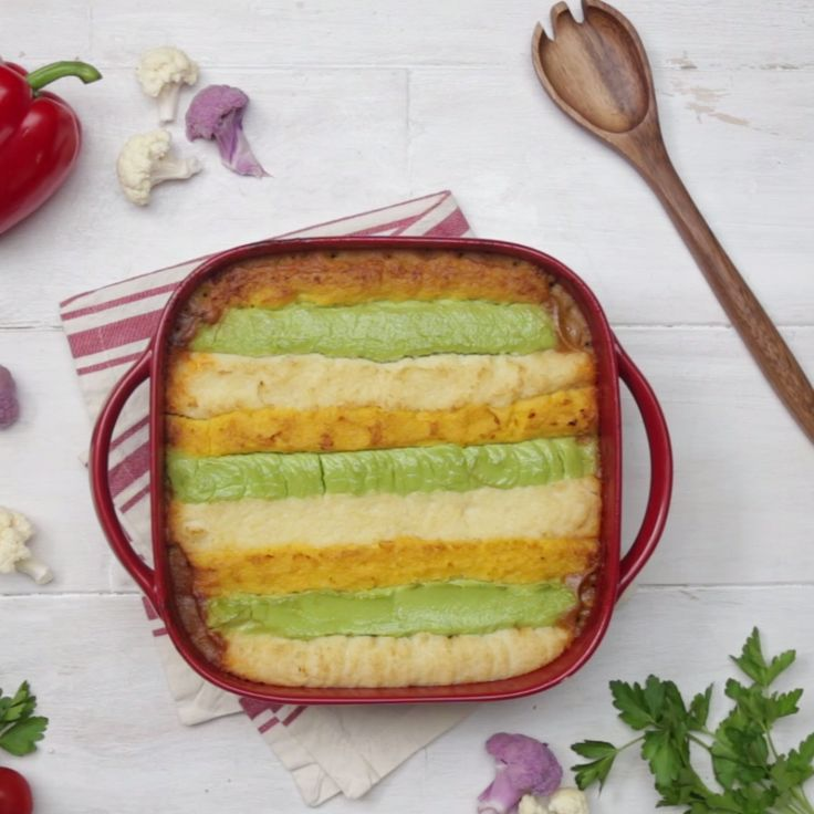 A healthier take on shepherds pie - these colorful stripes are actually made of creamed cauliflower! We dare you to trick your family with this carb-light dinner bake, they'll never know!