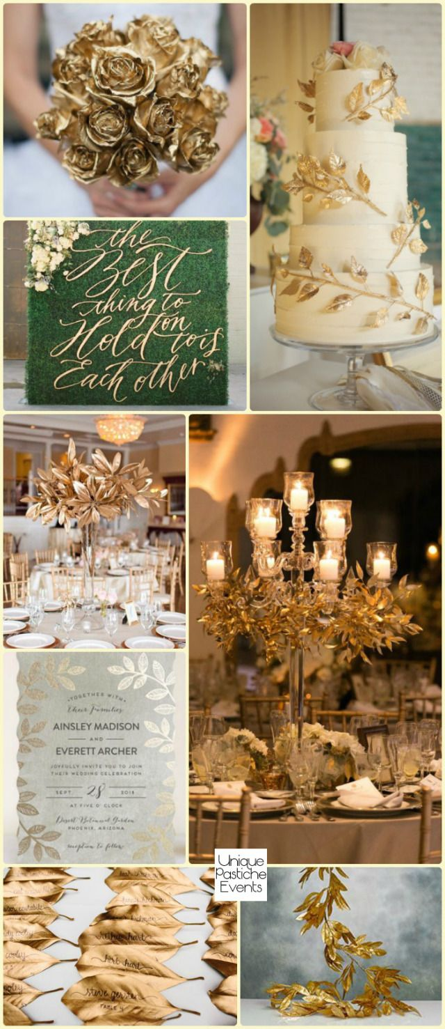 We're doing it up like Midas today! A gilded botanical wedding with roses dipped in gold, garlands of gold bay leaves, and centerpieces featuring gold garlands over crystal