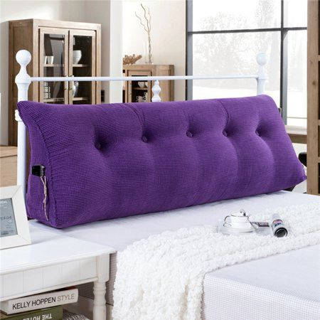 c88d7c526669 Buy Sofa Bed Large Filled Triangular Wedge Cushion Bed Backrest Positioning  Support Pillow Reading Pillow Office Lumbar Pad with Removable Cover Purple  59 ...