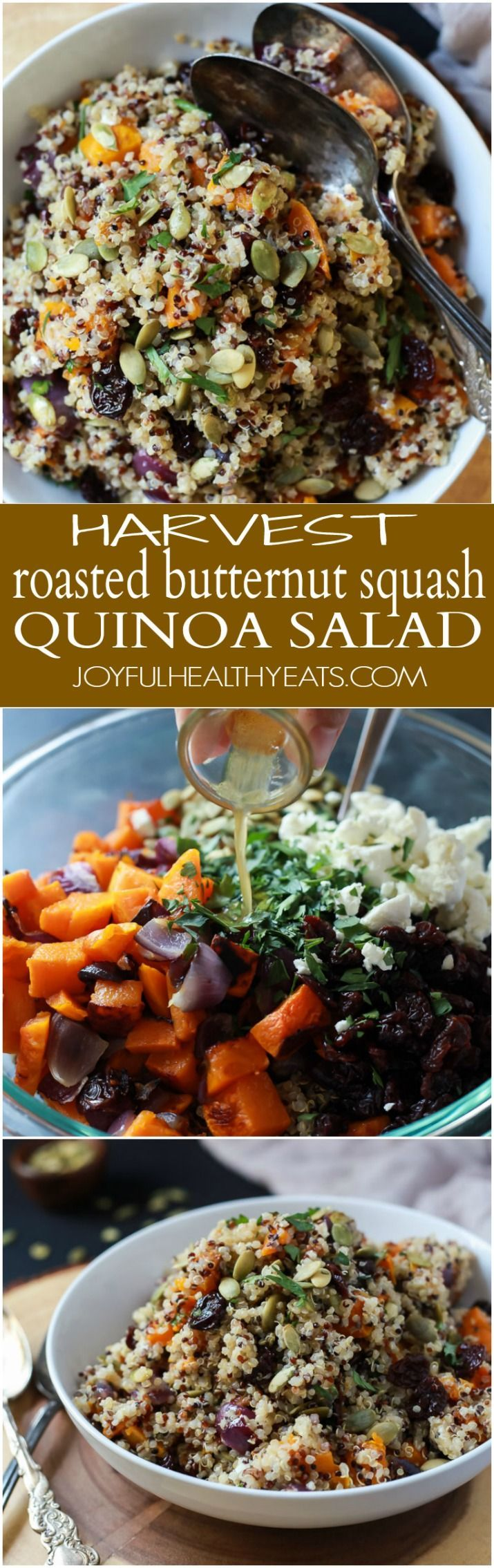 The BEST Roasted Butternut Squash Quinoa Salad with a secret creamy element and surprise spice that makes this salad dish pop with flavor. This Quinoa Salad is a rock star gluten free vegetarian recipe you need on your table this fall. | http://joyfulhealthyeats.com #recipes