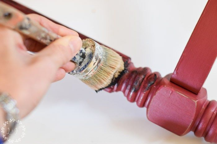 Fusion Mineral Paint Color Month Cranberry   Cranberry Side Table Makeover--how to apply Black Furniture Wax #FusionMineralPaint #FurniturePaint #FusionFamily