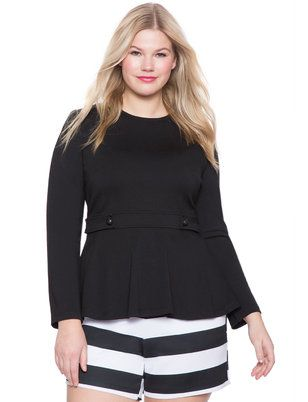 """ELOQUII Plus Size Button Detail Top  This long sleeve peplum top features button detailing at the waist for a stylish twist.  Pair it with a pencil skirt and pointed toe heels for a fashion-forward day at the office.  Invisible back zipper with hook and eye closure.  Fit and flare silhouette.  Medium stretch ponte knit fabric. Body Length: 27 1/2"""" 52% Rayon / 44.5% Polyester /3.5% Spandex Machine wash cold gentle cycle with like colors. Only non-chlorine bleach when needed. Tumble dr.."""