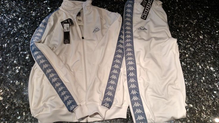 Men's White Kappa Sky Blue Tracksuit Size Large XL Italy Italia World Cup Soccer | eBay