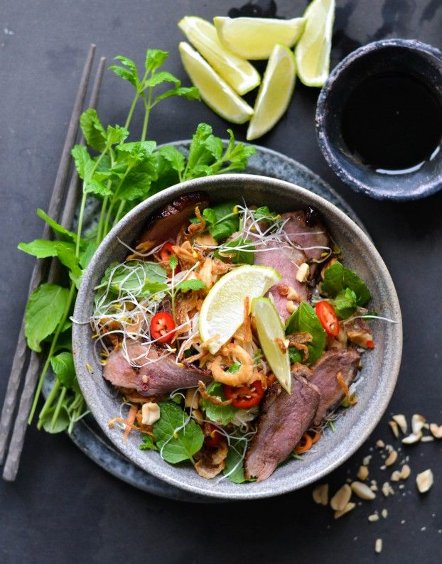 Vietnamese style duck salad with crispy greens and fresh herbs – christmas duck in a whole new way