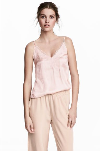 Strappy satin top with lace - Powder pink - Ladies   H&M GB 1