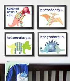 Dinosaur Nursery Art Print, Childrens Art - Set of 4 Prints 8