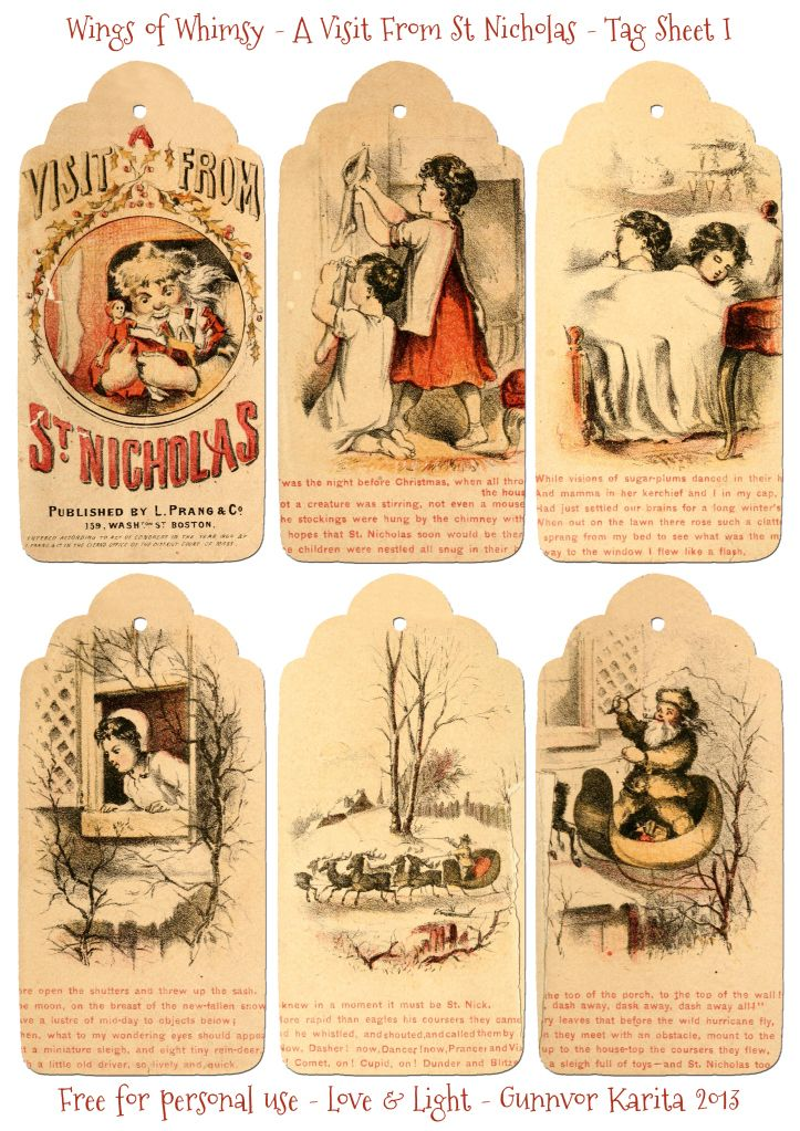 A Visit From St. Nicholas 1864 – 12 Different Free Printable Tags / Wings of Whimsy