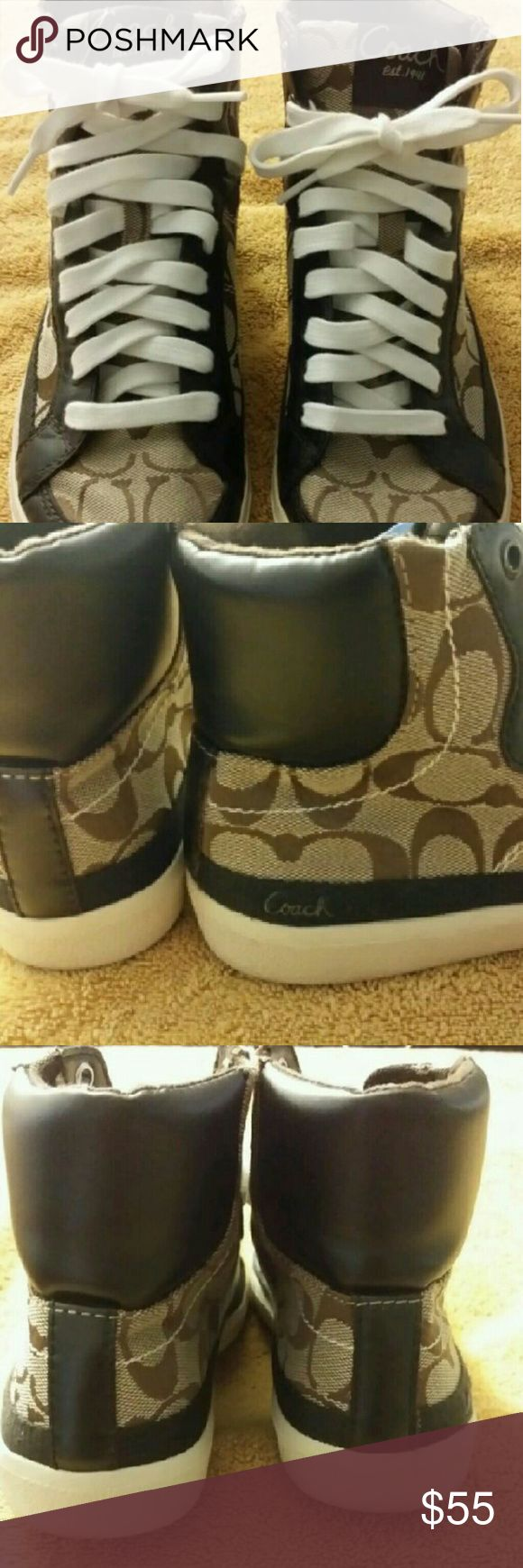 Coach  high tops with leather trim.sneakers Good looking high top Coach sneakers with leather trim. New without tags..size 10 b ladies Ellis signature coach Shoes Athletic Shoes