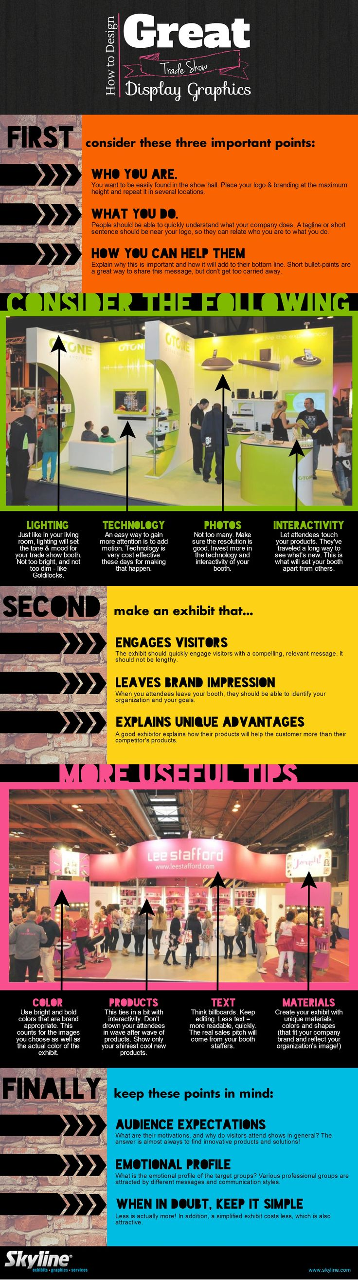 How to Design Great Trade Show Graphics #skylineexhibits #infographic link to original blog article used to create this infographic http://mflav.in/1r9PjLI