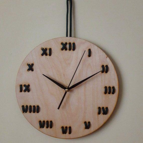 Minimal Stitched wood wall clock - String art - Home decor - Roman numerals - Modern - Unique