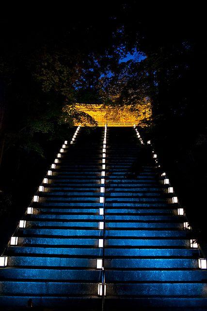比叡山延暦寺 滋賀県 Hieizan Enryaku-ji temple at night, Shiga, Japan