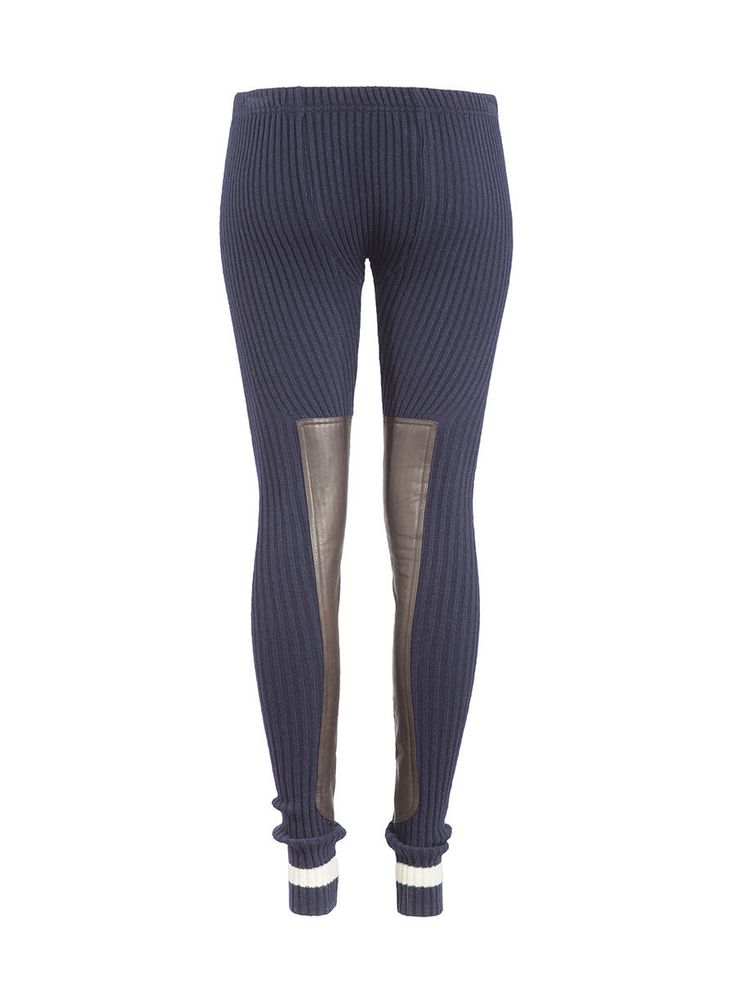 Ribbed Leather Panel Leggings in Navy