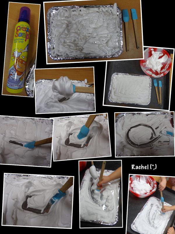 """Mark making in foam, on silver foil - from Rachel ("""",)"""