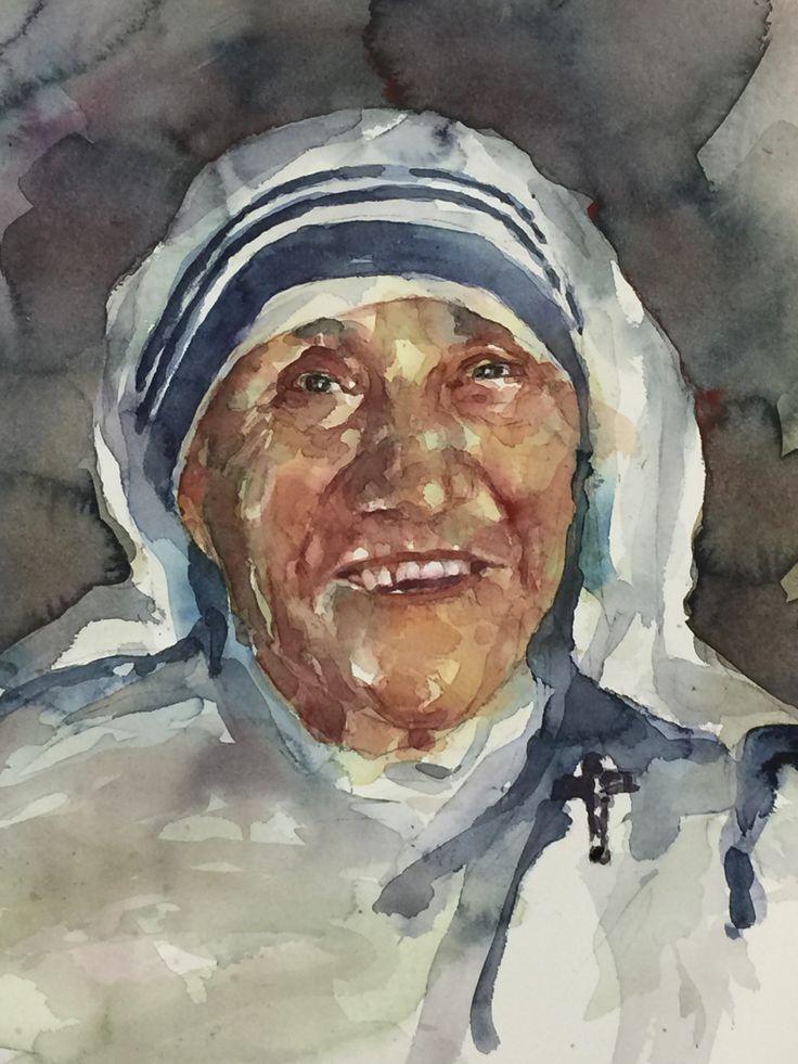 Retrato en acuarela de la madre Teresa de Calcuta realizado por Laura Castilla