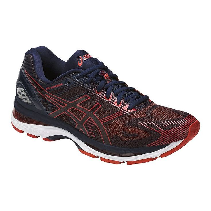 detailed look 1fa31 8c665 ASICS Men s Gel Nimbus 19 Running Shoes - Dark Navy Red in 2019   Products    Running Shoes, Sneakers, Asics men