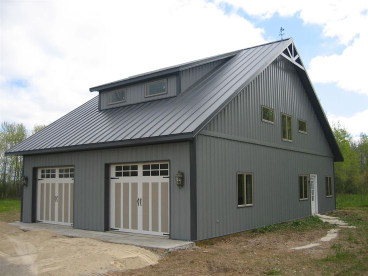 Best A 48 X 32 X 11 Cabin With A Charcoal Gray Roof Light Gray Siding And Charcoal Gray 400 x 300