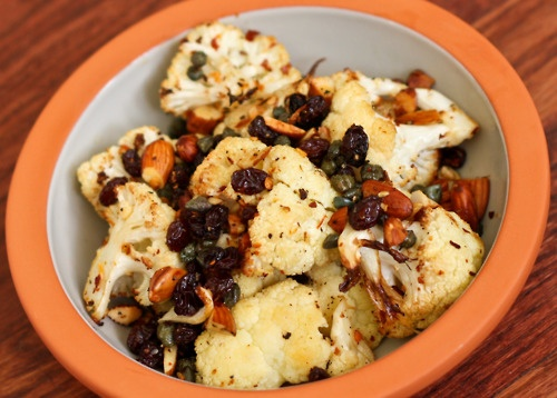 Roasted cauliflower with almonds, raisins, and capers. | De-lish ...