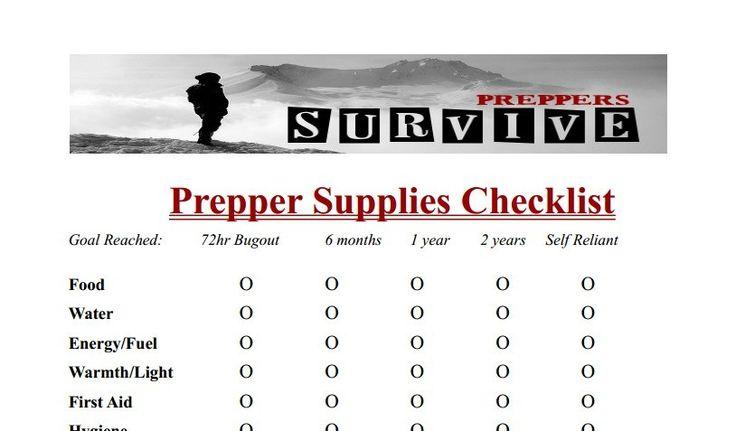 Prepper Supplies Checklist