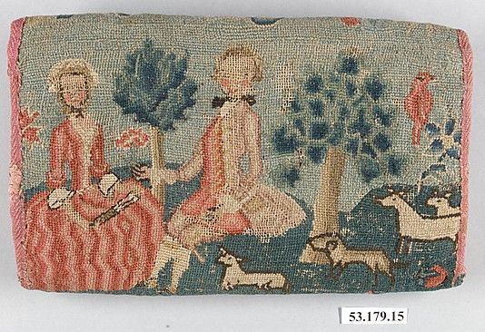 Wool embroidered linen purse (back) 1725-40