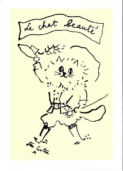 The Beauty Cat Drawing by Jean Cocteau Art Postcard | eBay