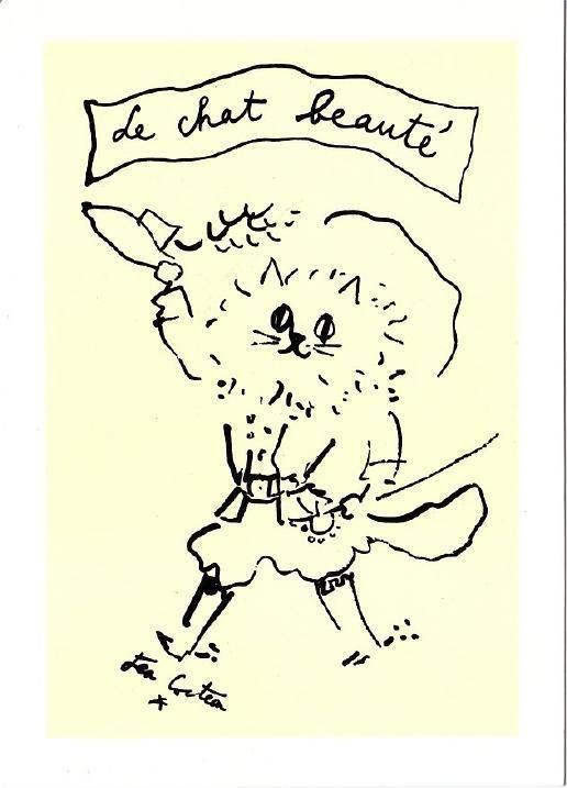 The Beauty Cat Drawing by Jean Cocteau Art Postcard   eBay