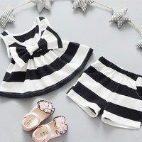 Wish   2016 Cute Newborn Baby Girls Bowtie Tank Tops Sleeveless Loose Top Dresses+Shorts Pants Outfit Kids Girls Summer Clothes
