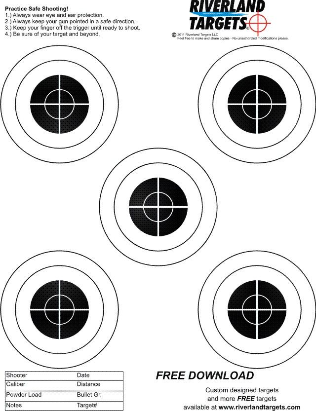 All of our miscellaneous shooting targets are sized to print on standard 8″ x 11″ printer paper.  These targets can easily be printed straight from our web sight on your home computer.  Whether your target shooting is casual or intense, our free to print shooting targets will get the job done, and save you … Continue reading MISC Targets →