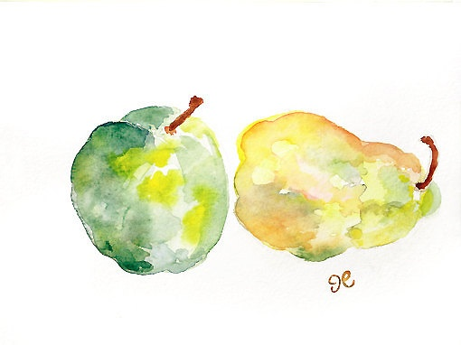 Original watercolor painting, Kitchen Art, Kitchen wall decor, Apple Watercolor, pear, green wall art, yellow, home decor - Fruit Splash. $20.00, via Etsy.