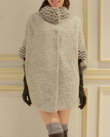 Stylish Stand Collar Dolman Sleeve Cape Woolen Coat For WomenCoats | RoseGal.com