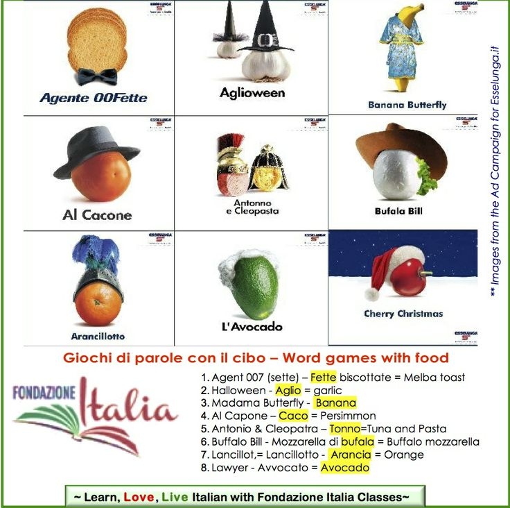 Word games with the names of various food inspired this ad campaign (2001-2004) by Esselunga.it   www.Fondazione-Italia.org