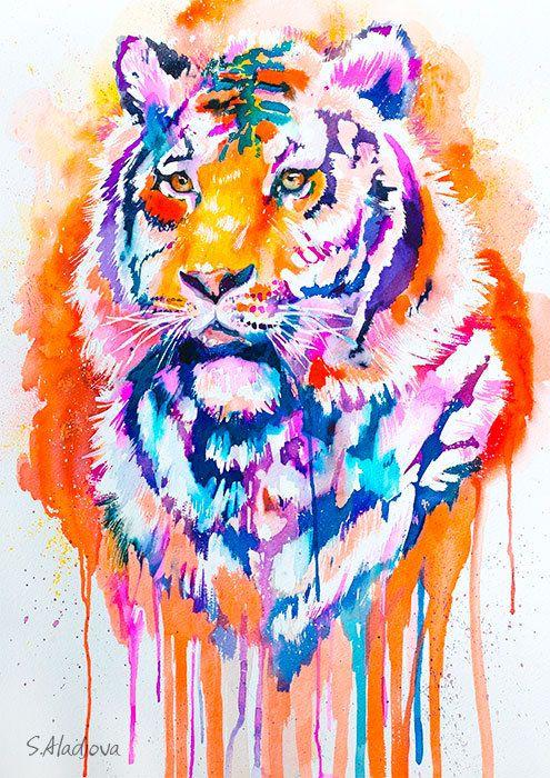 Tiger watercolor painting print by slaveika aladjova art for Cool watercolour