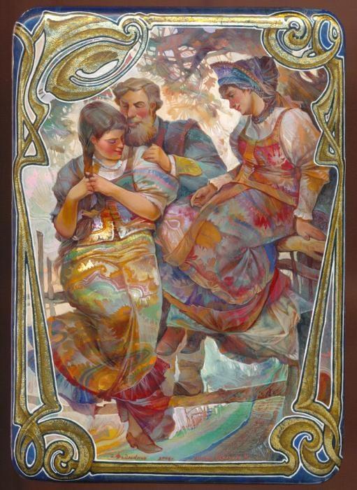Lacquer art from Fedoskino. Michail Shelukhin. У плетня.