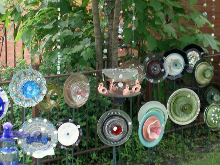 36 best images about upcycled garden art on pinterest - Recycled glass garden art ...