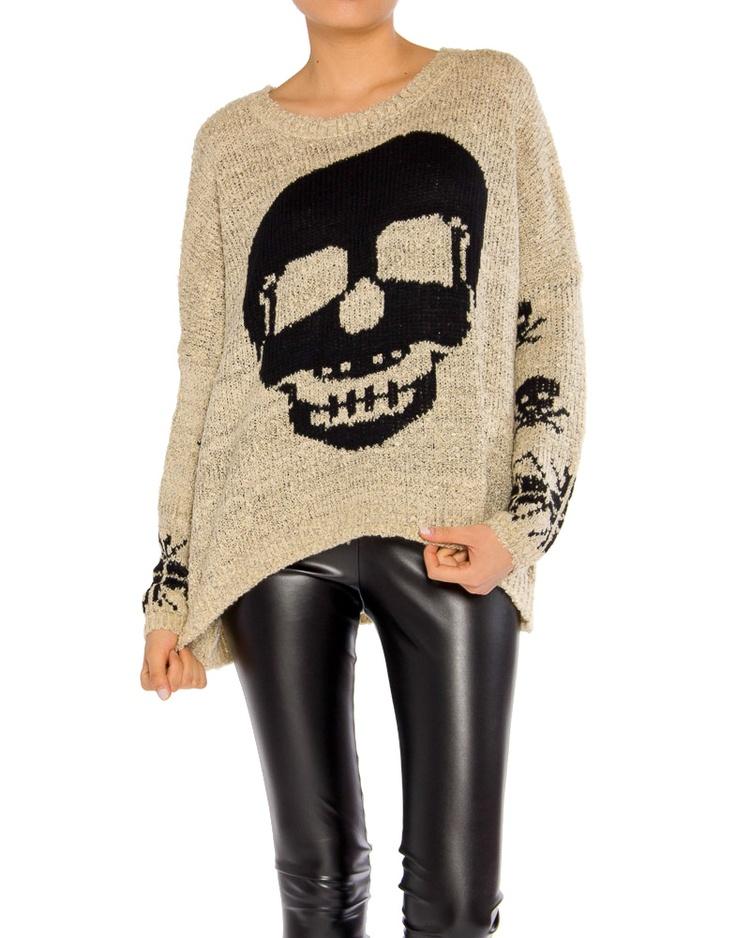 Skull Sweater / Vegan Leather Leggings