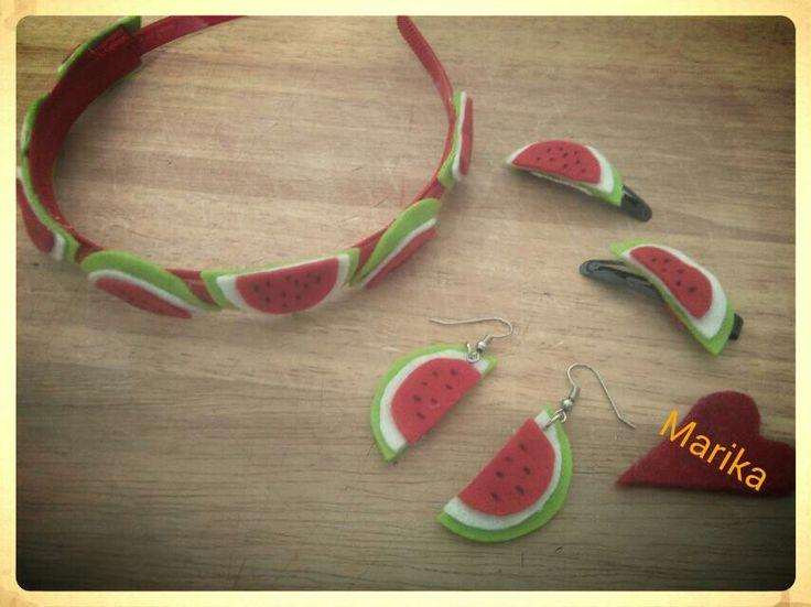Voglia di estate?!? Cerchietti con fette di anguria!!!