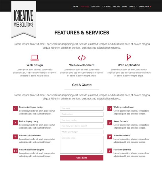 This one page WordPress theme features a responsive layout, shortcodes, a working contact form, unlimited colors, SEO optimization, demo content, a filterable portfolio, jQuery effects, 500+ Google Fonts, 700+ Font Awesome icons, and more.