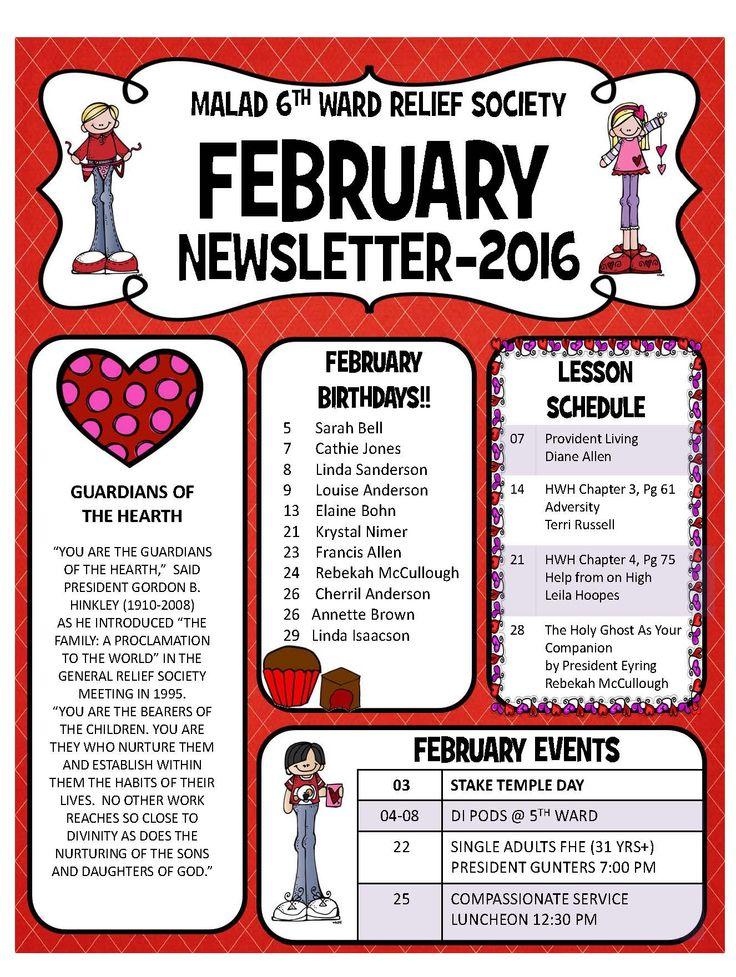 calendar visiting teaching message newsletter layout newsletter ...