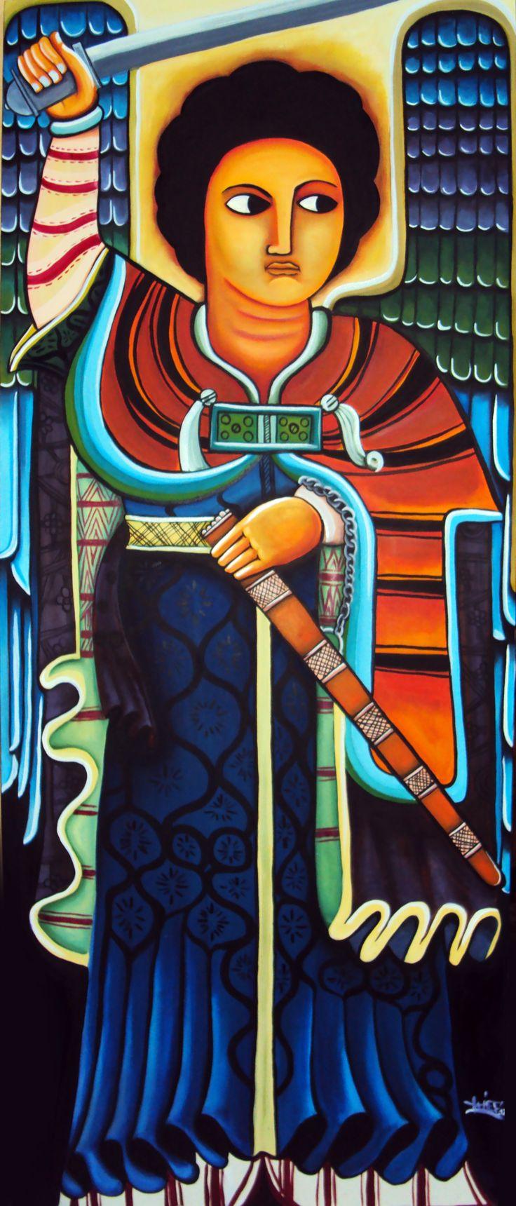 Ethiopian Angel. Oil on canvas 1.70*1.50