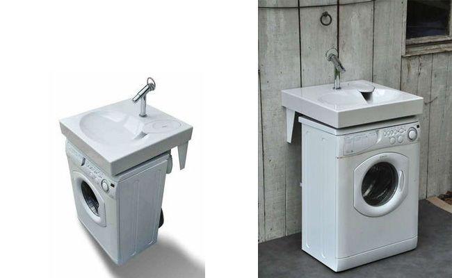 Раковина над стиральной машиной: особенности установки и 70 продуманных решений для функциональной ванной комнаты http://happymodern.ru/rakovina-nad-stiralnoj-mashinoj-foto/ Удобное расположение умывальника над стиральной машиной в небольшой ванной комнате