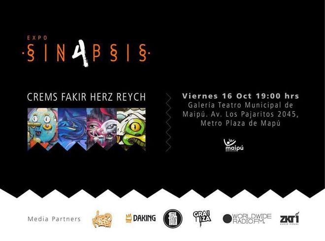 4 Artistas urbanos chilenos se unen para mostrar sus obras al público en un solo evento.