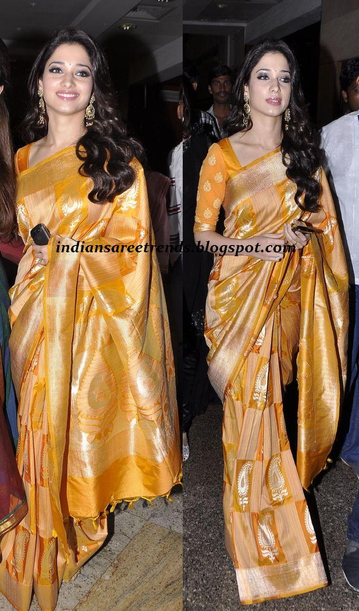 Latest Traditional and Designer Sarees: Tamanna in mustard yellow kanchipuram silk saree
