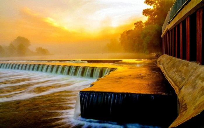 river flow at sunset wallpaper